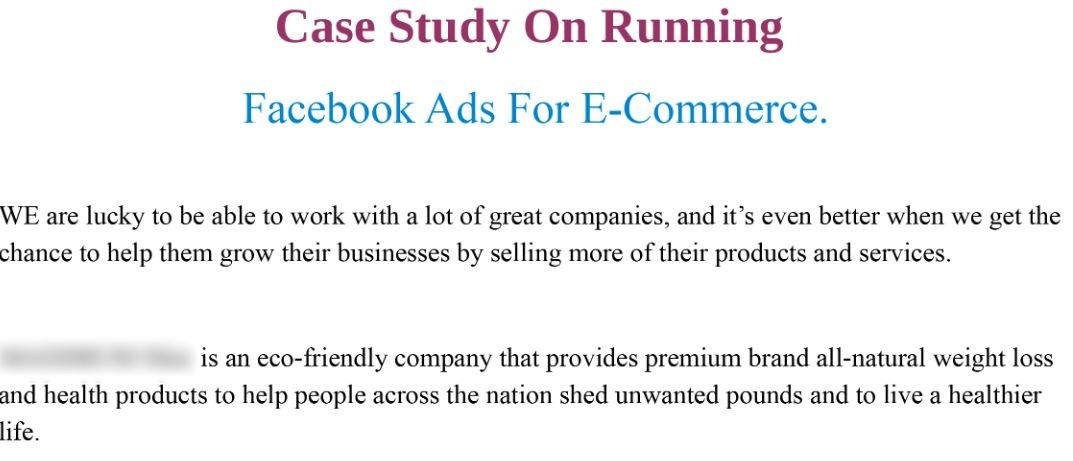 Facebook Ads for E-Commerce 2- Case Study