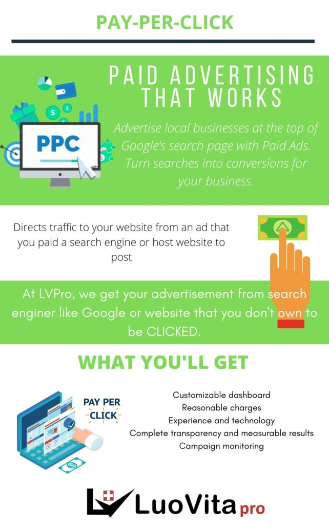 Pay-Per-Click - Luovita Professional World Class Marketing Services Plan the perfect digital marketing campaign. Let us help you advertise your business on top of Google searches and covert them to make big money online