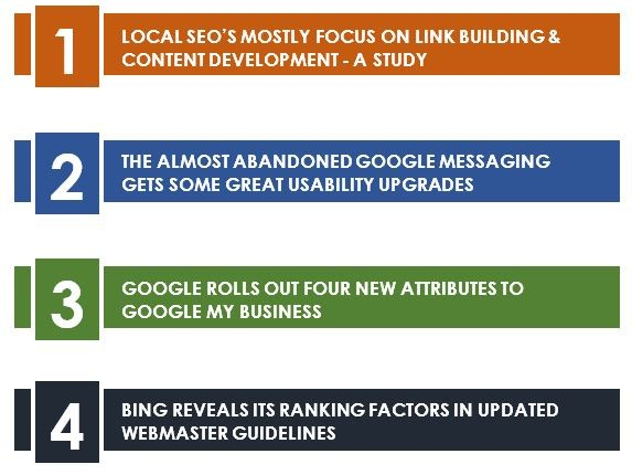 Table of contents Local seo's mostly focus on link building & content development - a study. –Newsletter July 2020, the almost abandoned google messaging gets some great usability upgrades, google rolls out four new attributes to google my business, bing reveals its ranking factors in updated webmaster guidelines