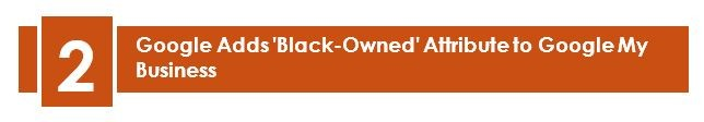 2. Google Adds 'Black-Owned' Attribute To Google My Business – LuovitaPro August 2020 Newsletter. Google recently launched the new Black-owned attribute to Google My Business on July 30, where relevant businesses can tag themselves. Just like the way we see Veteran-led or Women-led in the Highlights section of any business listing, this new attribute will also be seen the same way.
