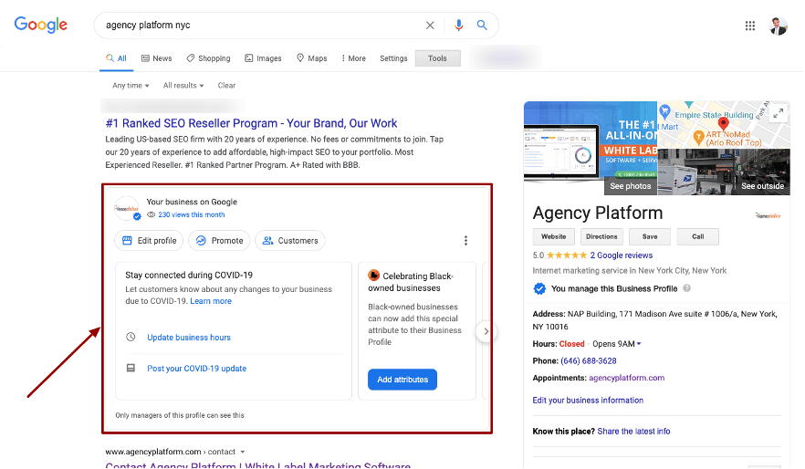 """MANAGE YOUR GMB PROFILE DIRECTLY IN SEARCH! Google just added new functions to its 'access your Google My Business (GMB) listing' feature in Google Maps and Search. Here's what Google stated: """"Now you can create posts, reply to reviews, add photos and update business information right from Google Search and Maps."""""""