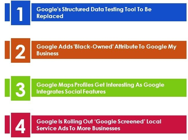 Table of contents - LuovitaPro August 2020 Newsletter. Google Adds 'Black-Owned' Attribute To Google My Business, Google Maps Profiles Get Interesting As Google Integrates Social Features, Google Is Rolling Out 'Google Screened' Local Service Ads To More Businesses. Google recently made an announcement that it's Structured Data Testing Tool will be replaced with the Rich Results Tool that is newly out of beta.